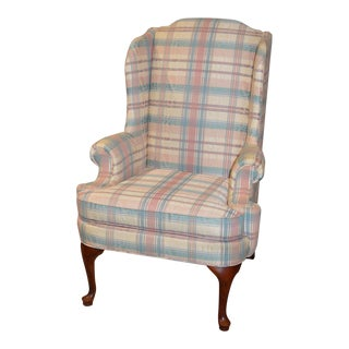 Thomasville Queen Anne Style Wingback Chair For Sale
