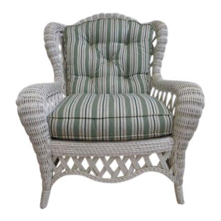 Vintage Custom Wicker Patio Porch Living Room Lounge Chair For Sale