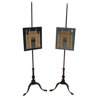A Pair of English Pole Screens Depicting Night & Day For Sale