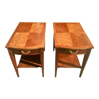 1960s Mid Century Modern White Furniture Company Parquet Top Side Tables - a Pair For Sale