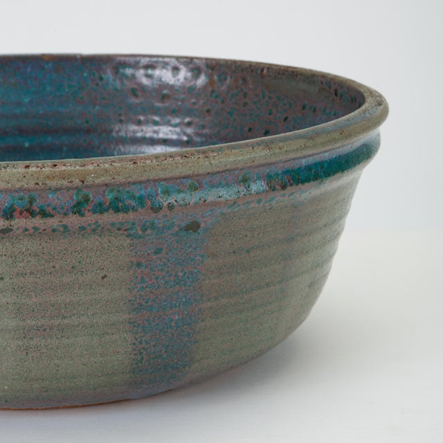 Blue Studio Pottery Serving Bowl For Sale - Image 10 of 12