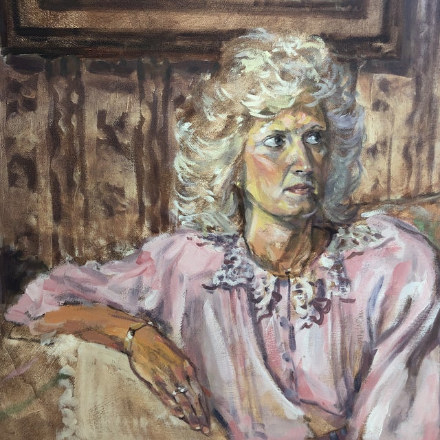 1980s Woman Portrait Painting For Sale - Image 4 of 7