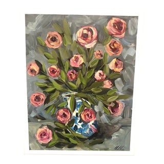 """""""Roses in Fine China Vase"""" Painting For Sale"""