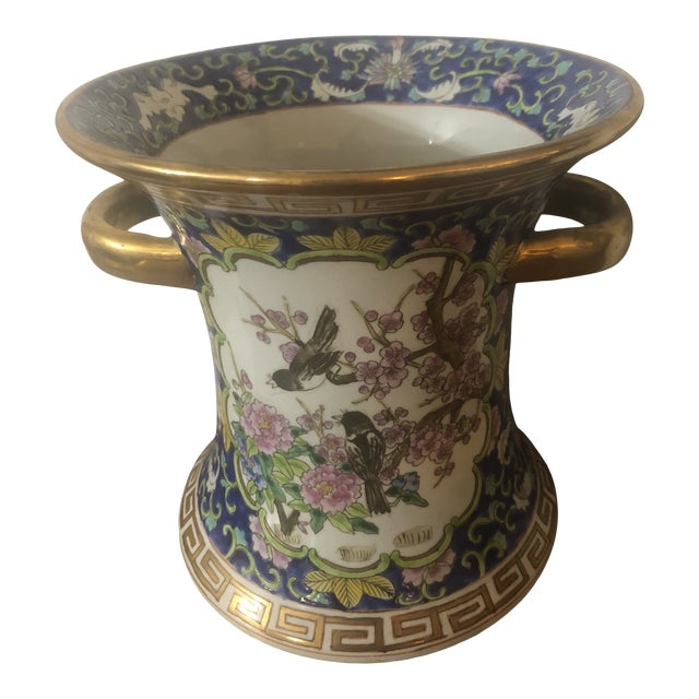 1990's Chinese Cherry Blossom Enameled Cachepot For Sale
