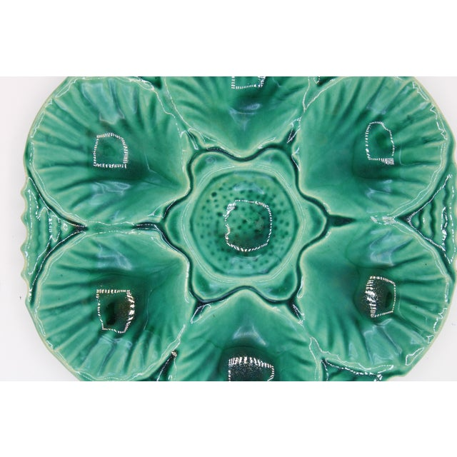 Green Antique English Mint Green Majolica Oyster Plate For Sale - Image 8 of 10