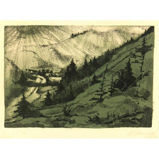 "Vintage Lithograph ""Mountain Valley,"" C. 1950 For Sale"