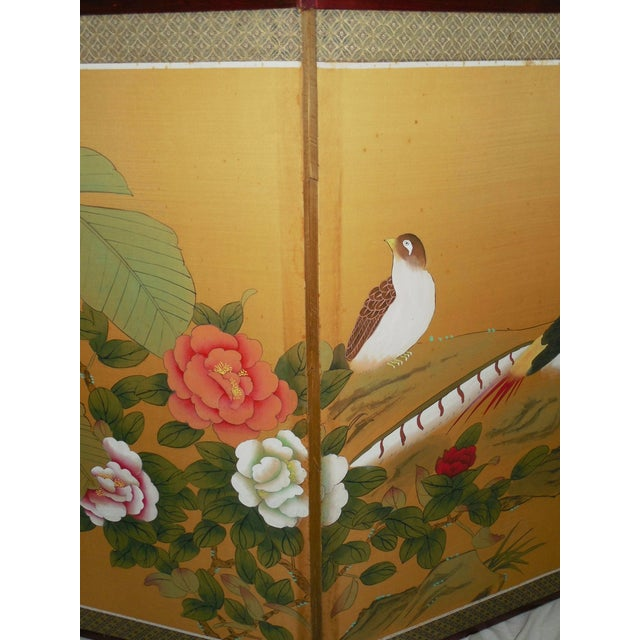 Japanese Silk Byobu Screen With Pheasants - Image 5 of 8