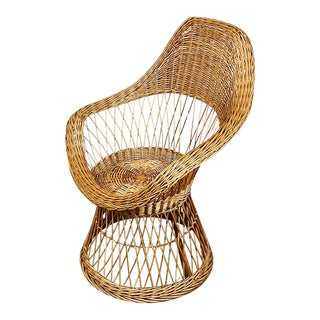 Wicker or Rattan Patio or Garden Arm Chair After Russel Woodard For Sale