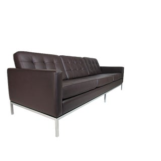 Florence Knoll Basset Leather Tufted Sofa for Knoll Associates For Sale