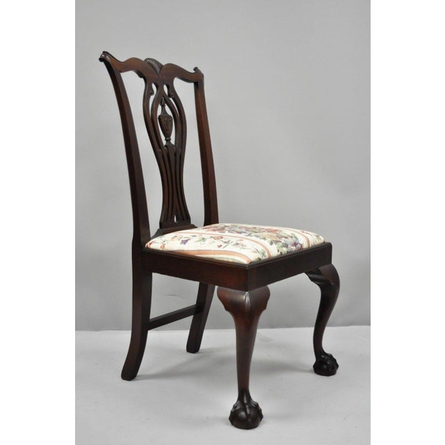 Set of 6 antique bench made solid carved mahogany Chippendale style ball  and claw dining chairs - Early 20th Century Antique Mahogany Chippendale Style Dining Chairs