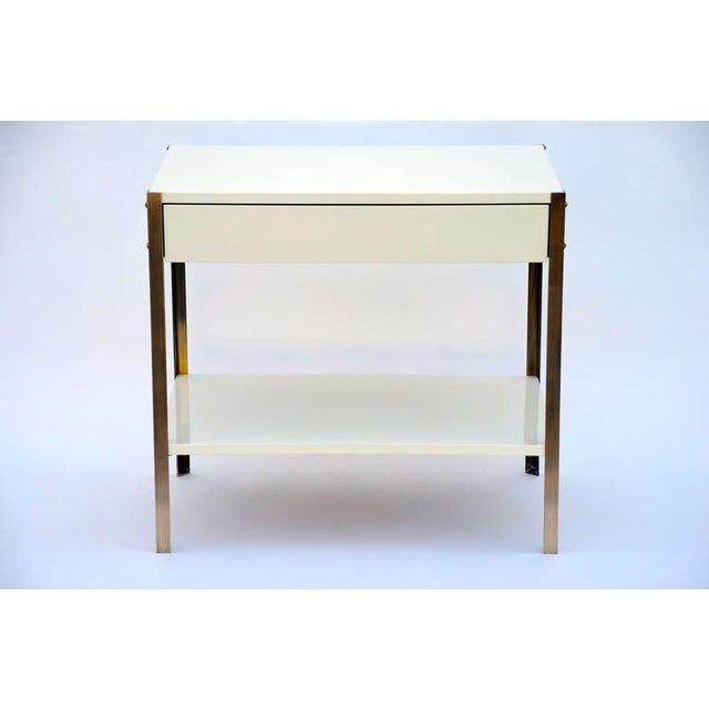 Pair of Minimalist Ivory Lacquer and Brass Nightstands For Sale - Image 10 of 11