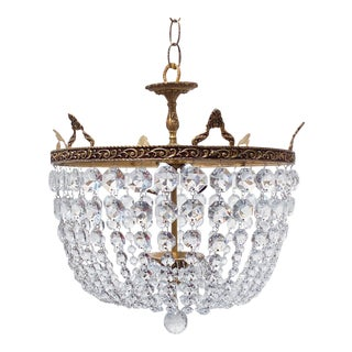 Italian Brass Basket Chandelier For Sale