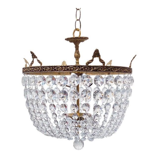 Italian Brass Basket Chandelier For Sale
