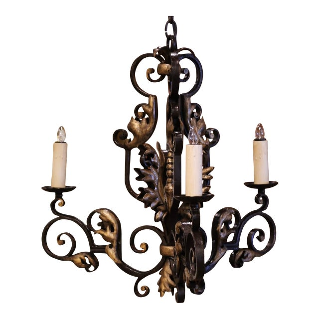19th Century, French Louis XV Iron Black and Gilt Painted Three-Light Chandelier For Sale