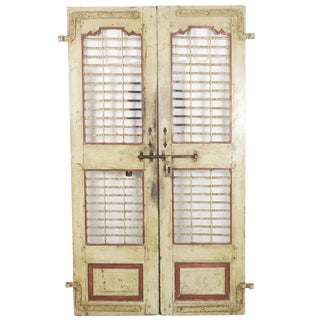 19th Century Antique Vintage India Jaali Painted Rustic Teak & Iron Doors-a Pair For Sale