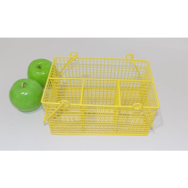 Contemporary Electric Yellow Bathroom Toiletries Catchall Basket For Sale - Image 3 of 9