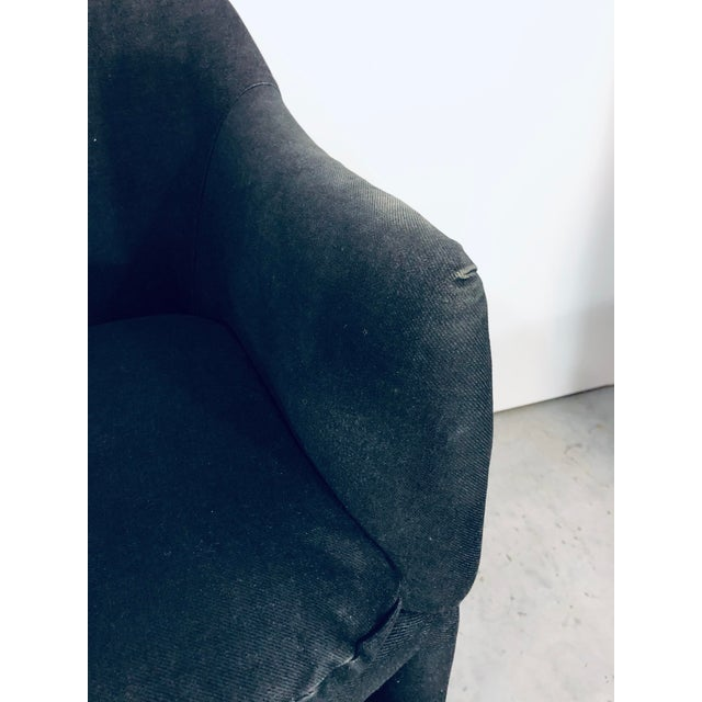 Thayer Coggin Black Denim Dining Arm Chairs- a Pair For Sale - Image 9 of 13