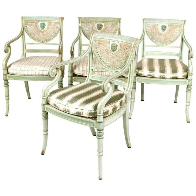 Set of Four 19th Century Painted Regency Style Neoclassical Armchairs - Image 10 of 10