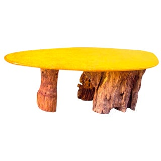 Modern Yellow Oval Resin Wooden Dining Table For Sale