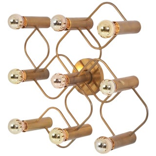 Brass 9-Light Sciolari Flush Mount Wall or Ceiling Lamp by Leola For Sale