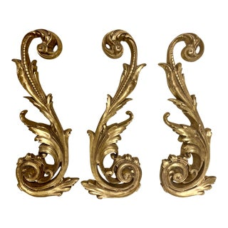 Set of 3 Carved Gilt Accents For Sale