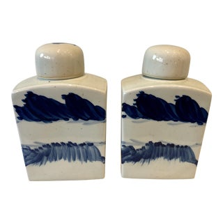 Blue Stroked Tea Jars - A Pair For Sale