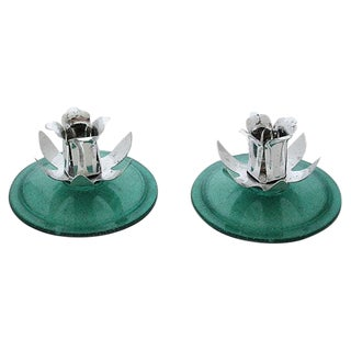 Sage Green Lucite Candle Holders - A Pair
