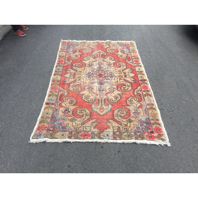 "Vintage Anatolian Floor Wool Rug - 4'8"" x 7'4"" For Sale - Image 6 of 6"