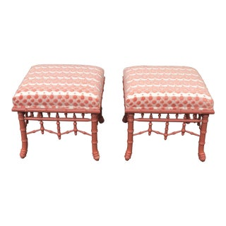 Century Furniture Faux Bamboo Stools- A Pair For Sale