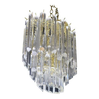 Ten Light Modern Oval Lucite Chandelier by Triarch Lighting For Sale