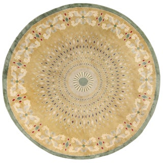 Antique Round French Art Deco Rug by Leleu - 13′ × 13′ For Sale