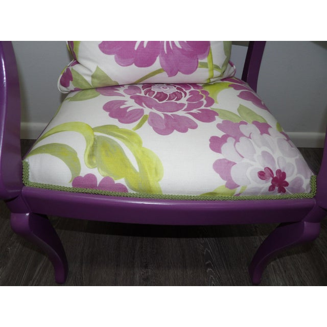 Wood Accent Chair in Purple With Floral Upholstery & Pillow For Sale - Image 7 of 8