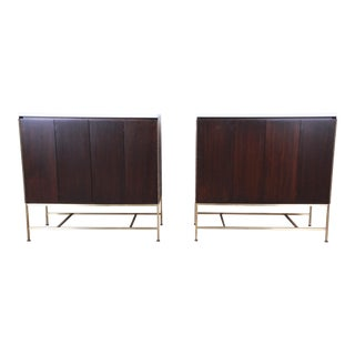 Paul McCobb Irwin Collection Mahogany and Brass Sideboard Cabinets, Two Available For Sale