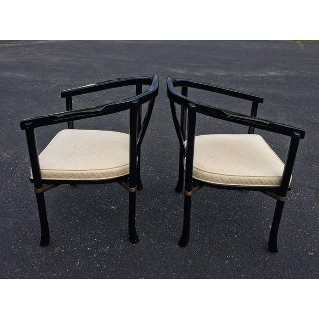 Asian Century Asian Style Lacquered Armchairs - A Pair For Sale - Image 3 of 11
