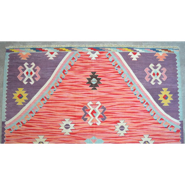 Silk Turkish Silk Rug Kilim Hand Woven Full Tribal Design Oushak Area Rug - 6′