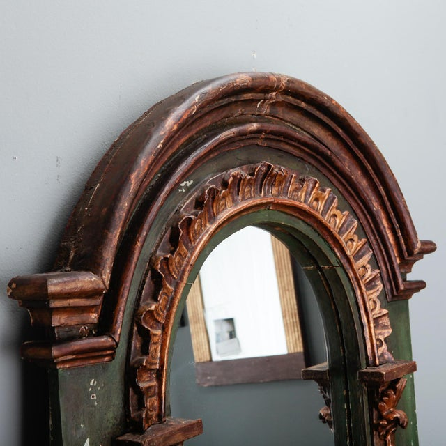 Wood 19th Century French Painted Mirror With Carved and Gilded Detailing For Sale - Image 7 of 8