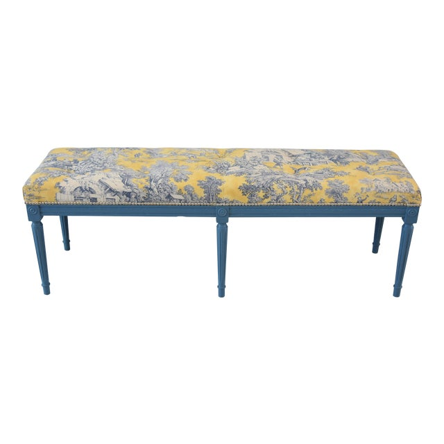 French-Style Yellow, White & Blue-Gray Toile Bench For Sale