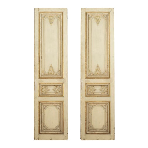 Set of Eight Louis XV Style Parcel-Gilt Doors With Ormolu Finishes For Sale