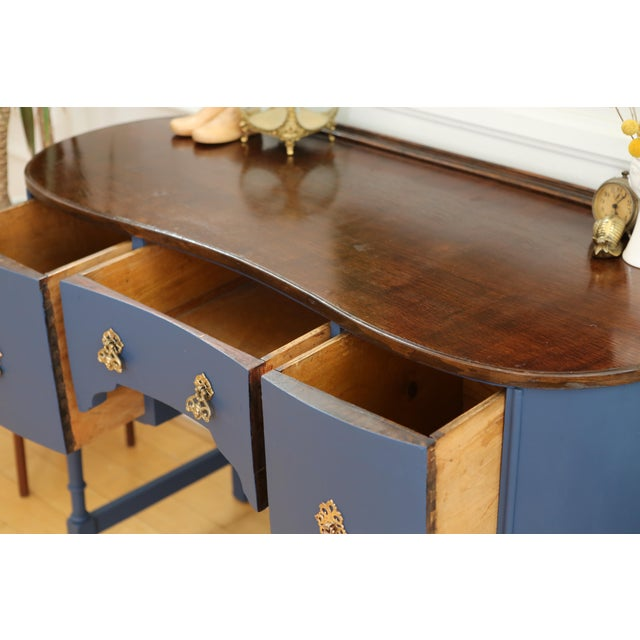 Wood Circa 1930 Louis XV Style Petite Kidney Shaped Desk For Sale - Image 7 of 11