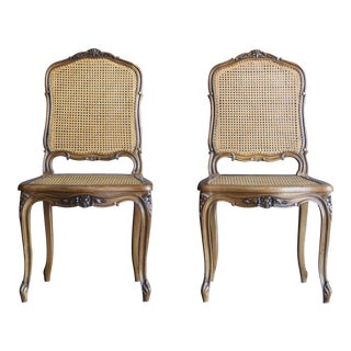 Antique French Carved Wood Cane Dining Chairs - a Pair For Sale