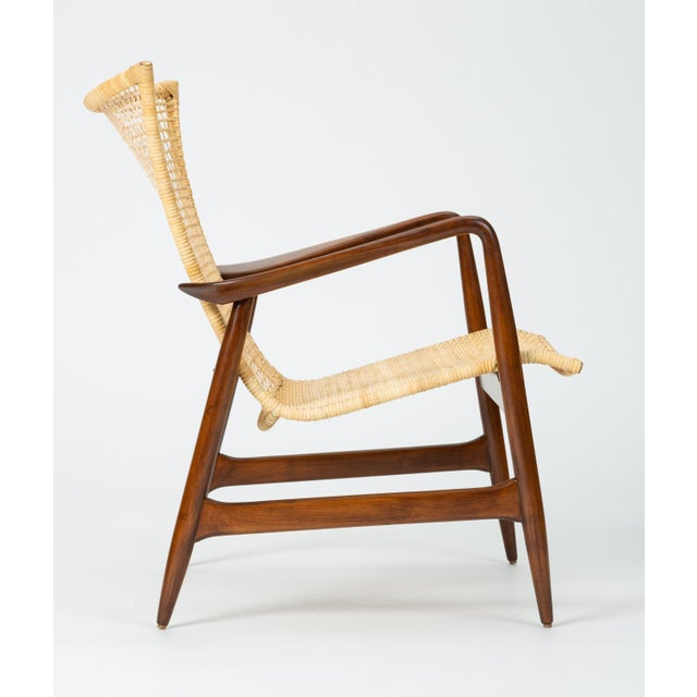 Brown Lounge Chair With Cane Seat by Ib Kofod-Larsen for Selig For Sale - Image 8 of 13