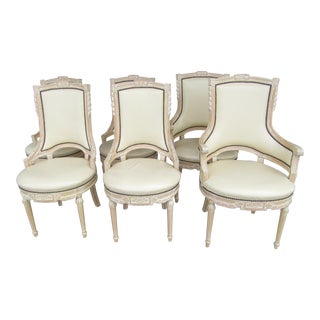 Cream White Carved Wood Dining Chairs - Set of 6 For Sale
