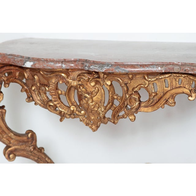 Louis XV French Console Table With Marble Top For Sale In Dallas - Image 6 of 13