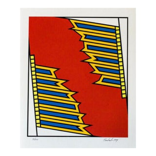 1970s Nicholas Krushenick Silver Liner Hand Signed Screenprint For Sale