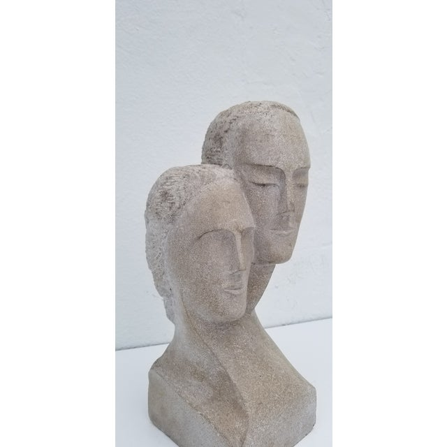 "1960s 1960s Vintage ""His and Hers "" Carved Stone Bust Sculpture For Sale - Image 5 of 12"