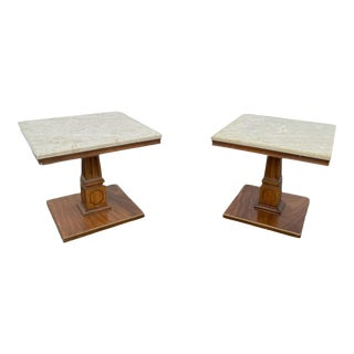 1970s Mid-Century Modern Walnut Marble Tables - a Pair For Sale