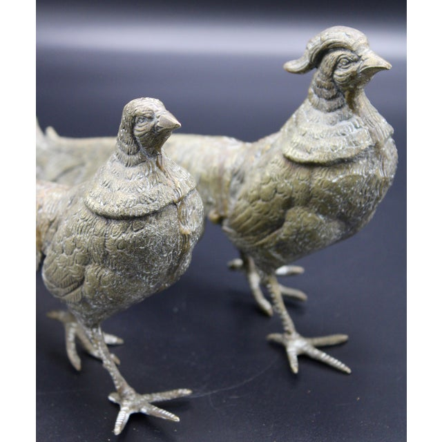 Italian Large Italian Silver Plate Pheasant Figurines - a Pair For Sale - Image 3 of 13