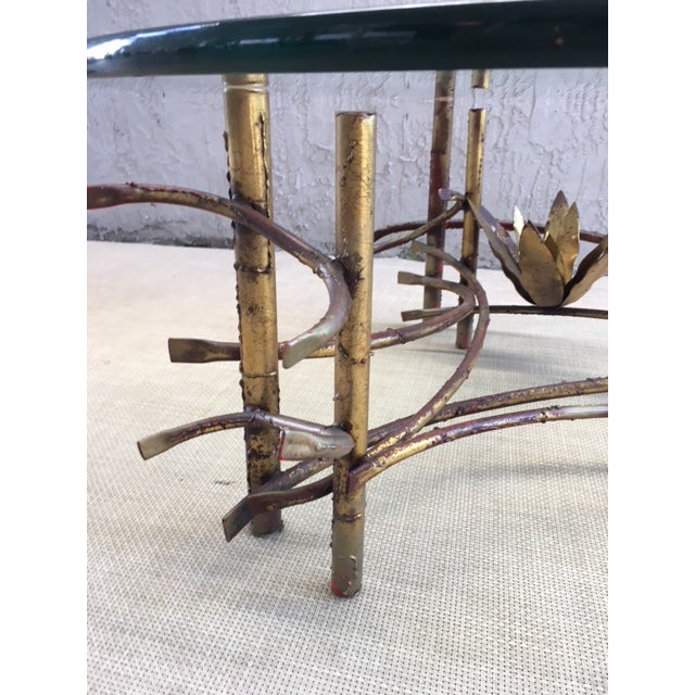 "Boho Chic ""Lotus"" Coffee Table Attributed to Silas Seandel For Sale - Image 3 of 8"