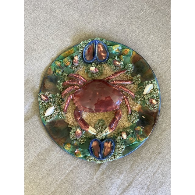 Minton Crab Majolica Palissy Plate For Sale - Image 9 of 10