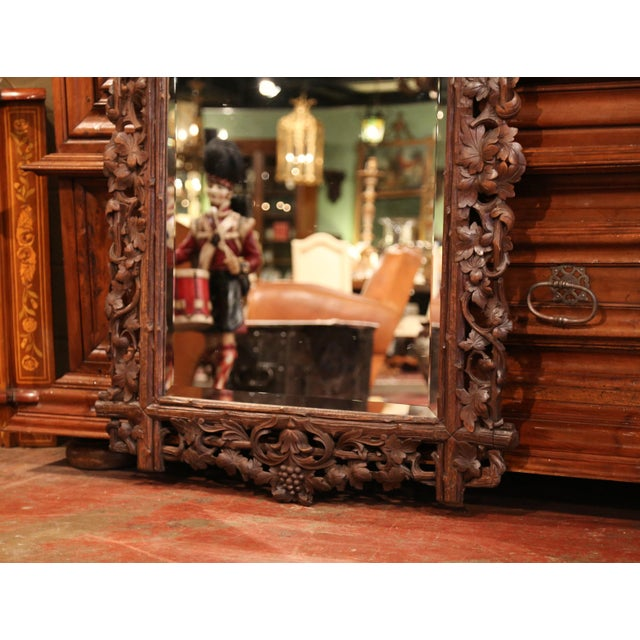 Late 19th Century 19th Century French Black Forest Carved Walnut Mirror With Grapes and Foliage For Sale - Image 5 of 7